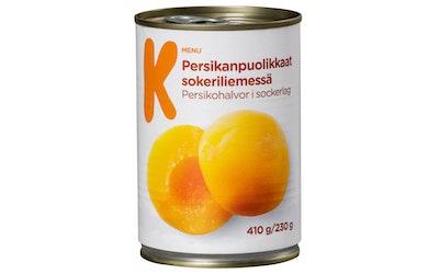 K-Menu persikanpuolikkaat sokeriliemessä 410/230 g