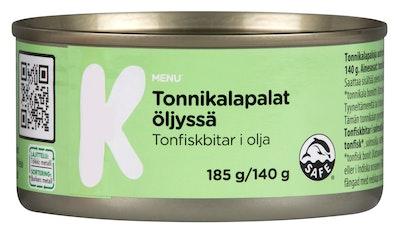 K-Menu tonnikalapalat öljyssä 185g/140g