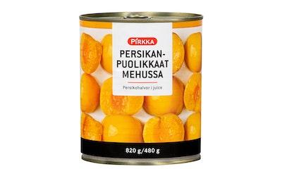 Pirkka persikanpuolikkaat mehussa 820g/480g