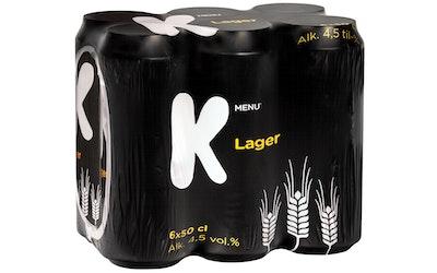 K-Menu lager-olut 4,5% 6x0,5l