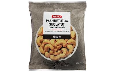 Pirkka paahdetut ja suolatut cashewpähkinät 125g