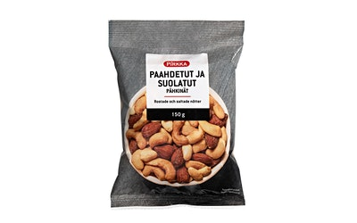 Pirkka paahdetut ja suolatut pähkinät 150g