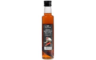 Pirkka Parhaat maustettu ekstraneitsytoliiviöljy (97 %) valkosipuli-chili 250ml