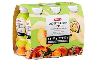 Pirkka Jogurttijuoma L. casei persikka-passiohedelmä 6x100g