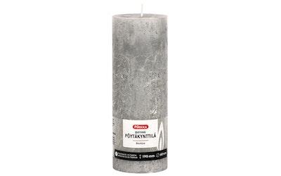Pirkka rustiikki pöytäkynttilä vaaleanharmaa 190mmx68mm n. 77h