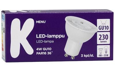 K-Menu LED-lamppu 4W GU10 PAR16 36 230lm 3kpl
