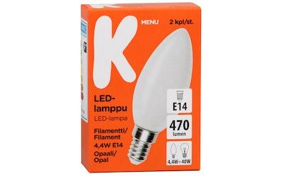 K-menu LED-lamppu filamentti 4,4W E14 opaali 470lm 2kpl