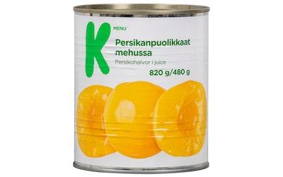 K-Menu persikanpuolikkaat mehussa 820g/480g