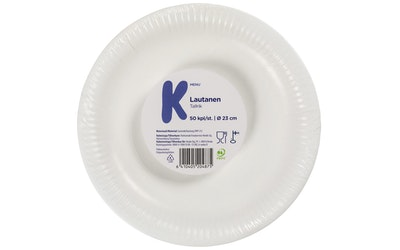 K-Menu valkoinen lautanen 23cm 50kpl