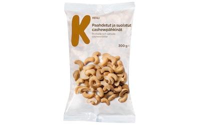 K-Menu paahdetut ja suolatut cashewpähkinät 300g
