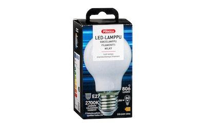 Pirkka led vakiolamppu E27 7W 806lm filamentti frost/milky