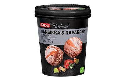 Pirkka Parhaat mansikka & raparperi luomujäätelö 500ml/300g