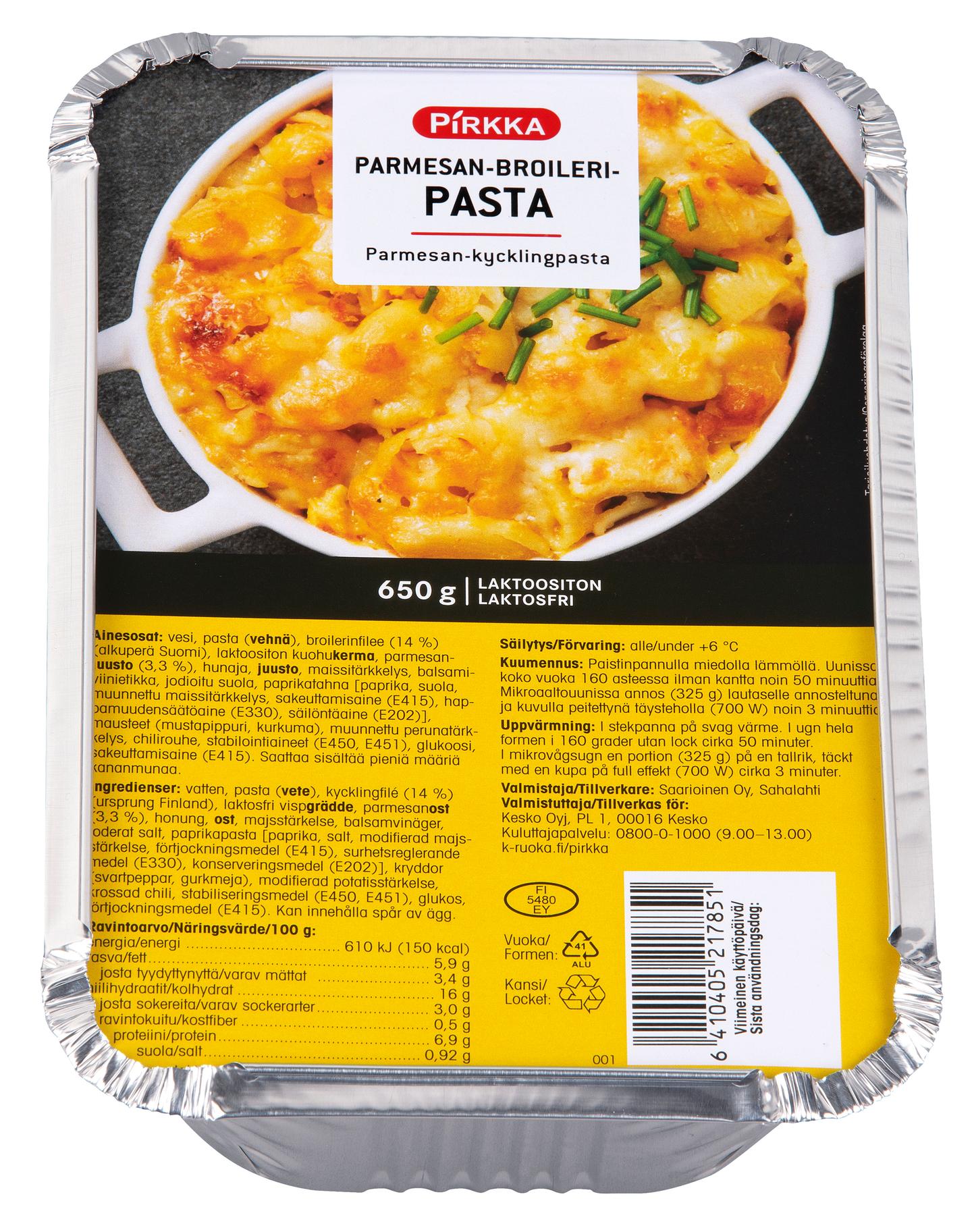 Pirkka Parmesan Broileripasta 650g K Ruoka