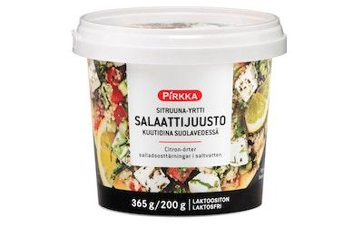 Pirkka sitruuna-yrtti salaattijuusto kuutioina suolavedessä 365/200g laktoositon