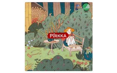 Pirkka lautasliina 20kpl/33cm kesäpäivä penkillä by Kaisa Ranta