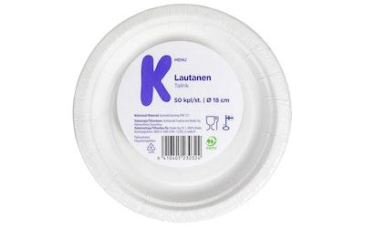 K-Menu lautanen valkoinen 18cm 50kpl