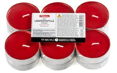 Pirkka maxi lämpökynttilä 12kpl 8h punainen