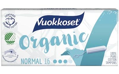 Vuokkoset Organic tamponi 16kpl normal
