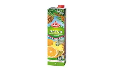 Marli Natur ananas-appelsiini-passion täysmehu runsaasti hedelmälihaa 1L