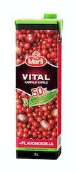 Marli Vital 1l Karpalo-rypälemehujuoma + flavonoidit 50% vähemmän lisättyä sokeria