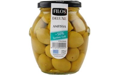 Filos Deluxe vihreä oliivi Amfissa, -50% suolaa 400g/230g