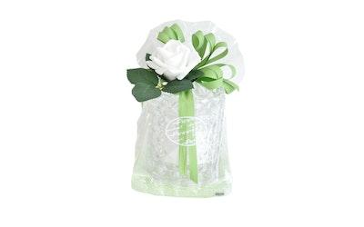 Finnmari kynttilälahjapakkaus servetit, valettu lasi, koristeruusu+lehdet vihreä