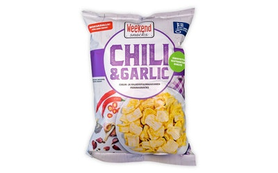 Weekend Chili & Garlic 180g. Chili- ja valkosipulimakuinen perunasnacks
