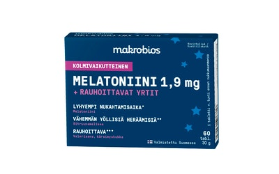 Makrobios kolmivaikutteinen Melatoniini 1,9mg + rauhoittavat yrtit 60 tablettia 30g