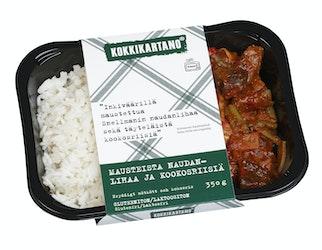 Kokkikartano nausteista naudanlihaa ja riisiä 350g
