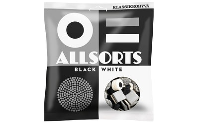 Allsorts lakritsipussi 250g black &white