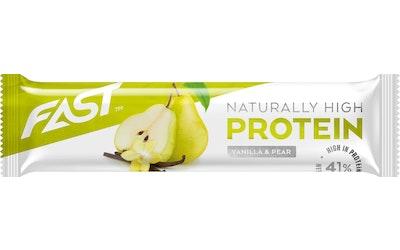 FAST Naturally High Protein 35g päärynä-vaniljanmakuinen proteiinipatukka valkosuklaakuorrutteella