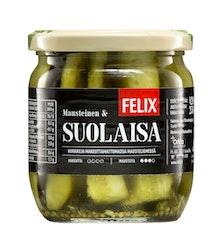 Felix suolakurkku lohkottuja kurkkuja suolamausteliemessä 420/250g