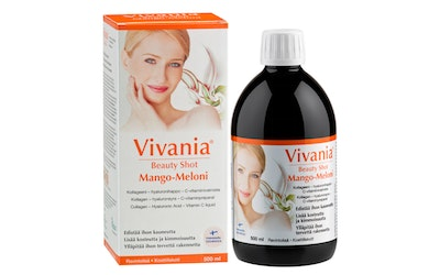 Vivania Beauty Shot 500 ml Mango-Meloni Kollageeni-hyaluronihappo-C-vit.val