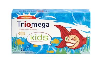 Triomega Kids hedelmänmakuinen pureskeltava kalaöljy-D3-vitamiinikapseli, makeutettu sakariinilla