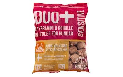 Mush Duo+ Täysravinto koirille sensitive kana-kalkkuna 1 kg
