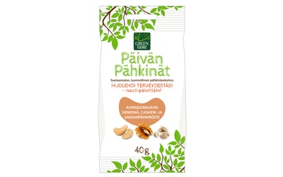 Green taste Päivän Pähkinät 40g auringonkukan siemen, cashew- ja saksanpähkinä