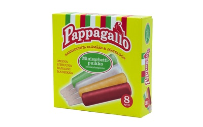 Pappagallo Minisorbettipuikko 8 kpl 320g/ml (8kpl x 40g/ml)