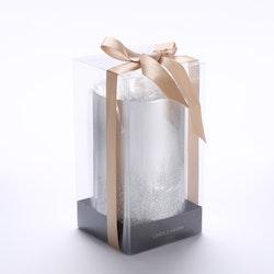 Candle Haven lahjapak kynttilä 80x150 hopea glitter ja rusetti