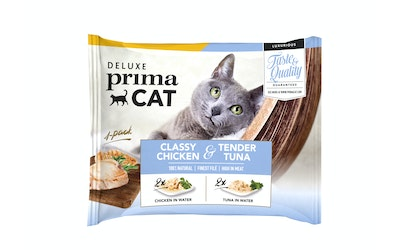 Deluxe PrimaCat classy chicken & tender tuna collection 4x50g kanaa ja tonnikalaa vedessä