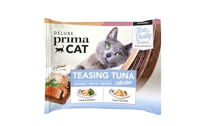Deluxe PrimaCat teasing tuna collection 4x50g tonnikala-lohi & tonnikala-katkarapu hyytelössä