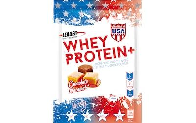 Leader Sports Nutrition Whey Protein + suklaan- ja karamellin makuinen proteiinijuomajauhe 25g