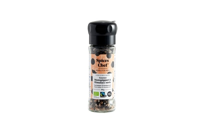 Spices Chef Luomu Gourmet Mustapippuri-Himalaya-Suola mylly 85g YM Reilu kauppa
