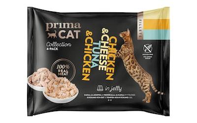 Primacat Fillets 4x50g kanaa ja juustoa ja tonnikalaa ja kanaa hyytelössä