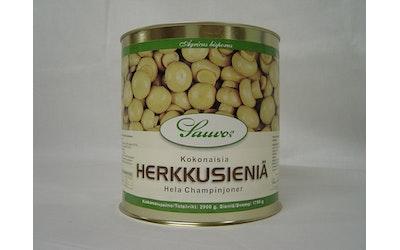 Sauvon kokonaisia herkkusieniä miedossa suolaliemessä 2,9/1,75kg