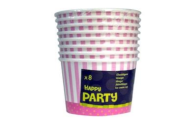 Jäätelökippo ja lusikka 8kpl pinkki