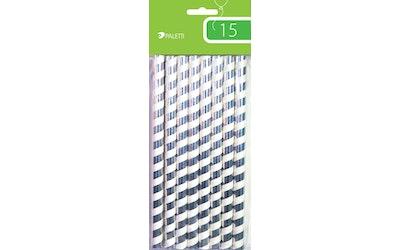 Paperipilli jumbo raita valk/hopea 15kpl