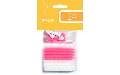 Kakkukynttilä pinkki/valkoinen 24kpl