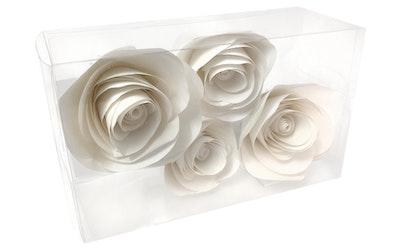 Paperikukkakoriste valkoinen 4kpl