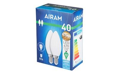 Airam led lasi kynttiläkupuinen E14 4,5W 470lm 2kpl