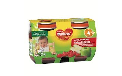 Muksu Vadelmaherkku, omenaa ja vadelmaa soseena 2x125g, 2-pack, alk. 4 kk